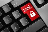 Grey keyboard red enter button lock symbol leak — Stock Photo