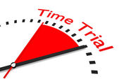 Clock with red seconds hand area time trial illustration — Stock Photo
