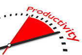 Clock with red seconds hand area productivity illustration — Stock Photo