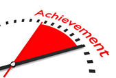 Clock with red seconds hand area achievement illustration — Stock Photo