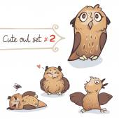 Cute Little Owl Set — Stockvektor