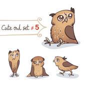 Cute Little Owl Set — Stock Vector