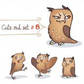 Cute Little Owl Set — Stock Vector