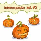 Halloween Yellow Pumpkin Set — Stock Vector