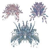 Flower Plumage Pastel Retro Vintage Bouquet Set — Stock Vector