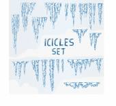Icicles Ice Winter Set — Stock Vector