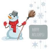 Snowman Scarf Broom Template — Stock Vector