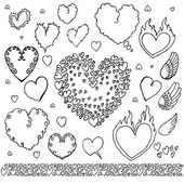 Hand Drawn Heart Elements Bubbles Set — Vetor de Stock