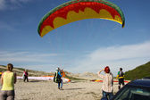 Paraplane Flyer under the Seven Winds mount — Stock Photo