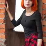 Pretty goth girl In abandon construction — Stock Photo #61932073