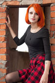 Pretty goth girl In abandon construction — Stock Photo