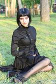 Beauty goth girl walks — Stock Photo
