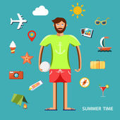 Summertime vector illustration with character and vacation icons set. — Stock Vector