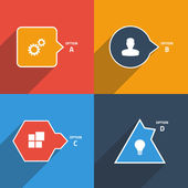 Info graphic template: square, circle, rhombus, triangle. — Vettoriale Stock