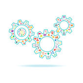 Gears vector illustration with icons set on white background. — Stock Vector