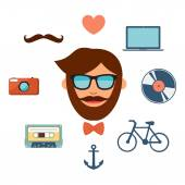 Hipster style icons set on white background. — Stock Vector