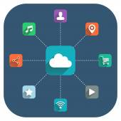 Cloud computing vector illustration with icons set on blue background. — Stock Vector