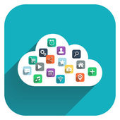 Cloud computing. Cloud icon with color icons set on blue background. — Stock Vector