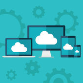 Cloud computing. Flat design illustration of laptop, desktop computer, tablet and smart phone with cloud icon. — Vettoriale Stock
