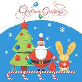 Vánoční pozdrav s Santa, vánoční strom a králíka na modrém pozadí. Návrhu vektorové ilustrace. — Stock vektor