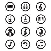 Black music icons set vector illustration. — Stock Vector