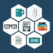 Flat icons vector collection of programming and coding objects. Isolated on white background. — Stock Vector