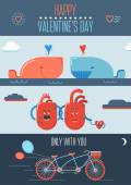 Valentine poster with hearts, bicycle and whales. — Stock Vector