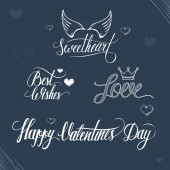 Valentines day illustration and typography elements. — Cтоковый вектор