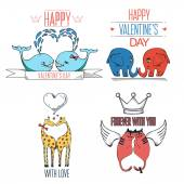 Cute hand drawn animals in love. Valentine's day card with typography elements. — Stock Vector