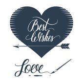 Romantic illustration and typography elements on white background. — Stockvector