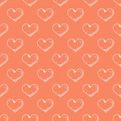 Hand drawn heart on red background seamless pattern. — Stockvektor