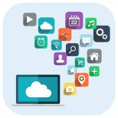 Cloud computing. Laptop and apps icons. — 图库矢量图片