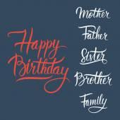 生日快乐刻字的深蓝色背景上的标志. — 图库矢量图片