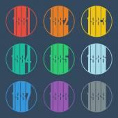 Logo des années 1980. Ensemble de nombres. Illustration vectorielle de conception. — Vecteur