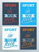 Sport is all you need. Lettering sign, typography, t-shirt graphics. — Stock Vector