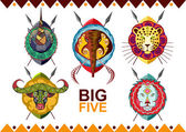 African big five. Rhino, buffalo, elephant, leopard and lion. — Stock Vector