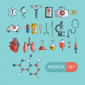 Health care and medicine icon set. — Stock Vector