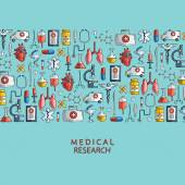 Medical research. Hand drawn health care and medicine icons. — Stock Vector