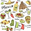 Mexico doodle icons set — Stock Vector #64251977