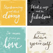 4 hand written inspirational  words — Vector de stock