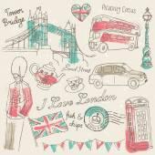 Londýnské ikony doodle sada — Stock vektor
