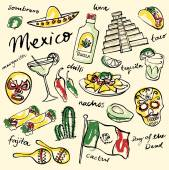 Mexico doodle icons set — Vettoriale Stock