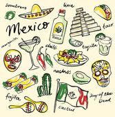 Mexico doodle icons set — Vector de stock