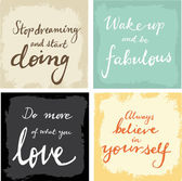4 hand written inspirational  words — Stock Vector