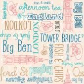 Handgeschreven Engeland symbolen woorden — Stockvector