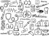 Medical ikony bazgroły — Wektor stockowy