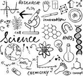 Science icons doodle — Stock Vector
