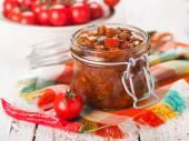 Vegetables preserves in glass jar — Stock Photo