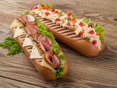 Ham and salad sandwiches — Stok fotoğraf