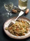 Tagilatelle with shrimp  — Foto Stock